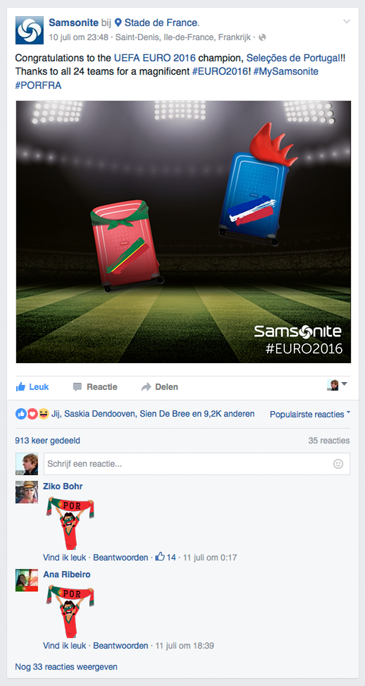 Facebook post Samsonite