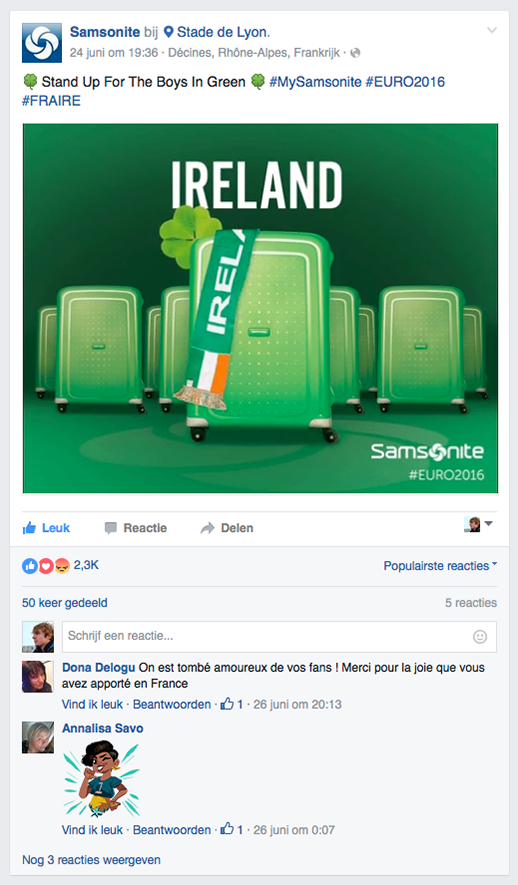 Social post Samsonite